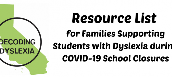 Resource List for Families During COVID-19 School Closures