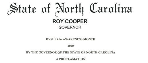 North Carolina Dyslexia Awareness Proclamation